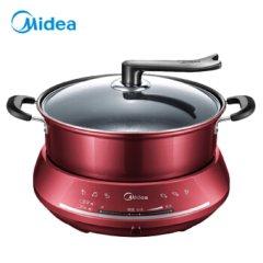 美的(Midea)电火锅大容量电炒锅 家用多功能电热锅 多用途锅 电炖锅易清洗 DHY28红色 红色