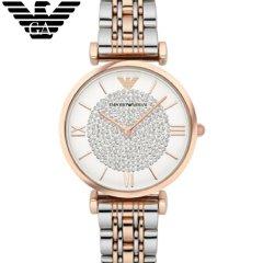 阿玛尼(Emporio Armani)满天星手表 明星同款 钢质表带时尚休闲石英女士腕表AR1926