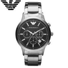 阿玛尼(Emporio Armani)手表 钢质表带休闲商务腕表 日历防水石英男表 AR2434 绅