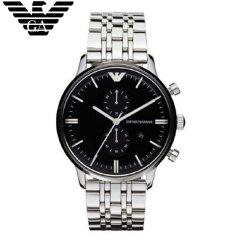阿玛尼 (Emporio Armani)手表20年新款男士钢带时尚休闲商务双眼多功能腕表AR0389