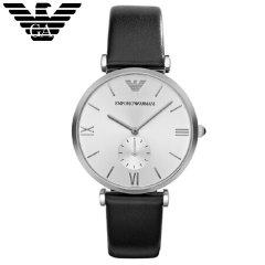 阿玛尼(Emporio Armani)手表 皮质表带休闲商务 石英防水男士腕表 AR1674 珍珠白