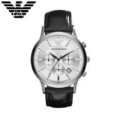 阿玛尼(Armani)手表 男士手表时尚商务休闲多功能二眼三眼计时男表腕表 AR2432 珍珠白 皮