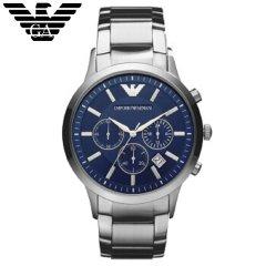 阿玛尼(EmporioArmani)手表正品三眼钢制表带商务时尚休闲石英男士腕表AR2448 天空蓝