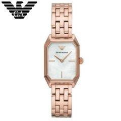 阿玛尼(Emporio Armani)手表 女士时尚优雅贝母表盘镶钻石英方形手表 AR11147 高