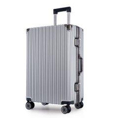 浮游客 时尚铝框拉杆箱行李箱万向轮20寸22寸24寸26寸箱包学生旅行箱男女时尚 20寸 登机箱 银