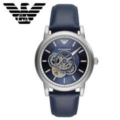 阿玛尼 (Emporio Armani)手表男士机械腕表AR60011皮带时尚商务个性镂空男表机械表