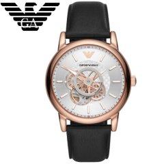 阿玛尼 (Emporio Armani)手表 男士机械腕表AR60013 镂空设计气质皮带男表机械表