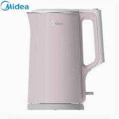 美的(Midea)电水壶热水壶电热水壶304不锈钢水壶全钢无缝开水壶智能温控烧水壶 HJ1722 粉