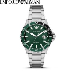 阿玛尼(Emporio Armani)男士水鬼系列手表钢带休闲商务腕表经典水鬼石英表腕表100米防水