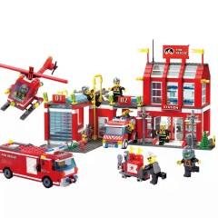 启蒙积木益智拼装玩具男孩消防总局