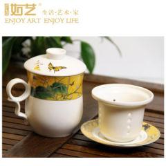 如艺 富贵花蝶-同心杯 陶瓷杯 茶杯 水杯RY-TL01A