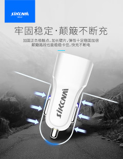 思科耐3.1A双USB车C6