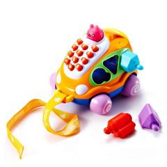 Auby/澳贝婴幼儿童拖拉爬行积木拼插早教启智汽车电话